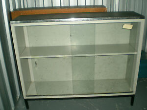 Image is loading Original-50-039-s-60-039-s-Metal- & Original 50u0027s 60u0027s Metal Display Cabinet Sideboard with Glass ...