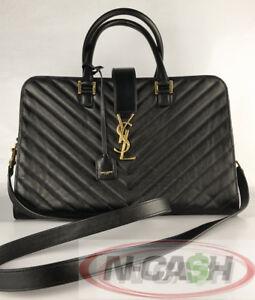BIG-SALE-Authentic-2990-Saint-Laurent-YSL-Large-Monogram-Black-Leather-Bag