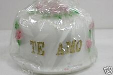 "TE AMO CAKE TOPPER CANDLE SPANISH I LOVE YOU PINK ROSES 3 1/2"" DIAMETER"