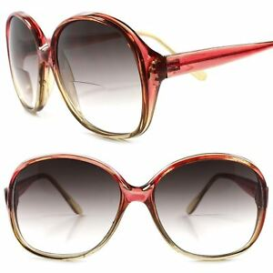 63890f24ca0 Image is loading Classic-Genuine-Vintage-Red-Womens-Tinted-Lens-Bifocal-