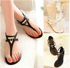 Fashion Women T-Strap Flat Sandals Gladiator Thong Flip Flops Shoes Black White