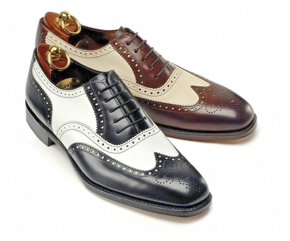Handmade Men's Genuine Leather Oxford Brogue Wingtip Lace Up Classic shoes