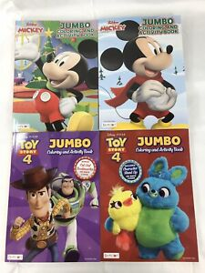 Lot-Of-4-Disney-Jumbo-Coloring-And-Activity-Books-Mickey-Toy-Story-4-New