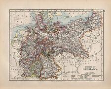 1900 VICTORIAN MAP ~ EMPIRE OF GERMANY POSEN BAVARIA SAXONY HANOVER PRUSSIA