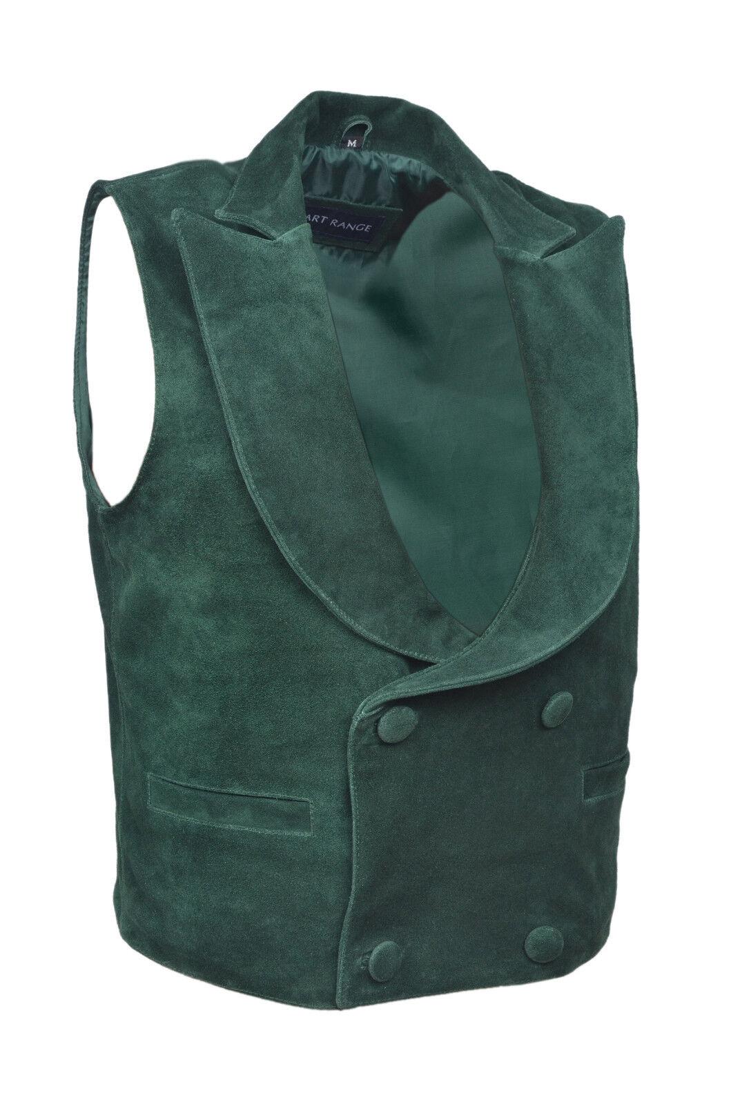 Periodo edoardiano da uomo nuovo stile di moda moda moda party verde vera morbida pelle scamosciata Gilet in Pelle fc1594