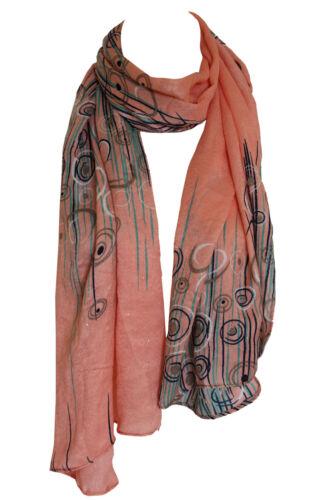 Soft Plush Abstract Bordered Pashmina Feel Wrap Scarf Stole Shawl Hijab