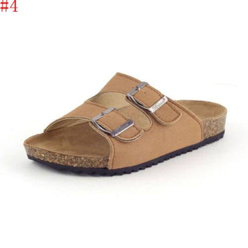 Toddler Kids Slippers Cork Beach Soft Sole Crib Shoes Summer Buckled Sandals US