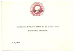 3D ROSE DIE OVERPRINTED SPECIMEN ON SAMPLE SHEET MAY 1859