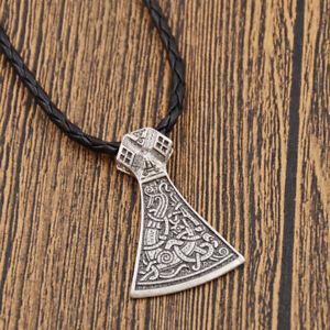 Retro-Gothik-Viking-Mammen-Norse-Axt-Anhaenger-Halskette-Unisex-Schmuck-Geschenk