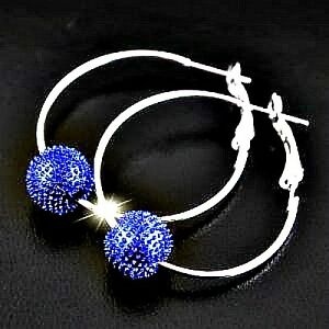 Bright-Blue-Silver-Tone-Shamballa-Style-Bead-1-Row-Hoop-Earrings-4cm-NEW