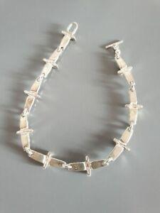 Armband-tolle-Glieder-Punze-unleserlich-925-Silber-zeitlos-17-78-g-edel-CP6093