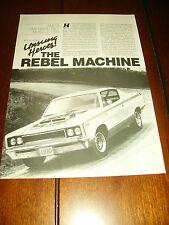 1970 AMERICAN MOTORS AMC THE MACHINE REBEL MUSCLECAR ***ORIGINAL 1988 ARTICLE***