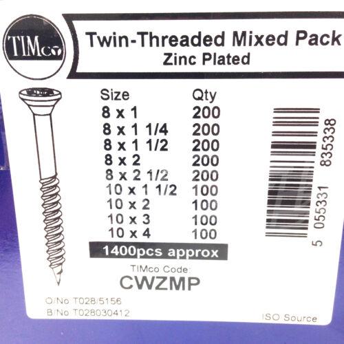 Paquete De 1400 piezas mixtas de Zinc Tornillos Madera Pozi Profesional Timco Avellanada