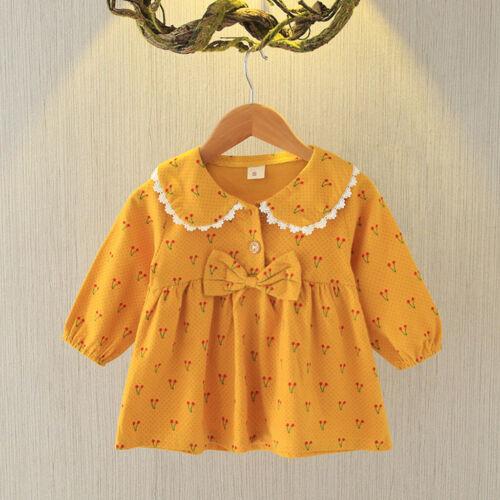 Toddler Kid Baby Girl Long Sleeve Dress Bow Print Party Princess Clothes Dress
