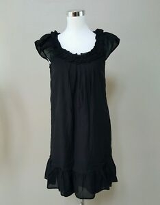 OLD-NAVY-Black-Ruffle-Cap-Sleeve-Scoop-Neck-Dress-Size-SMALL-Lined-NEW-WITH-TAG