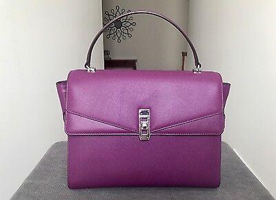Henri Bendel Pebbled Leather Uptown Satchel Handbag Purple Silver Hardware NWOT