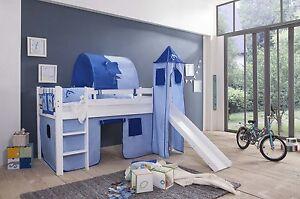 spielbett kinderbett hochbett mit rutsche vorhang turm weiss seemann ebay. Black Bedroom Furniture Sets. Home Design Ideas