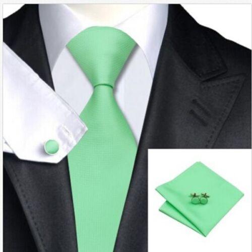 Fashion Solid Plain Men Formal Silk Tie Jacquard Woven Wedding Party Necktie Set