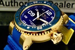 NEW Invicta Men 52MM GRAND Pro Diver Blue Dial White Accent SS Blue Strap Watch