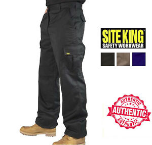 Mens-Cargo-Combat-Work-Trousers-Size-28-to-52-Black-Navy-Khaki-By-SITE-KING-02