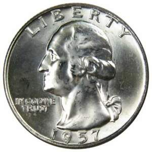 1957-D-25c-Washington-Silver-Quarter-US-Coin-Uncirculated-Mint-State