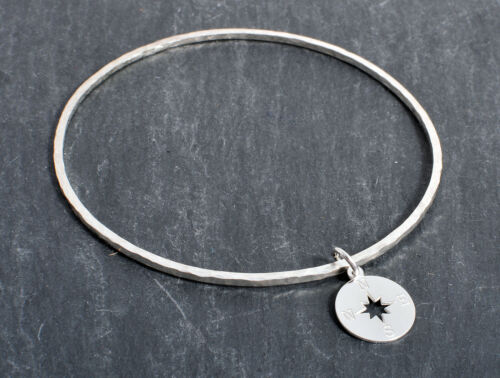 STERLING SILVER 925 COMPASS POINTS CHARM BANGLE ROUND / SQUARE HAMMERED HANDMADE