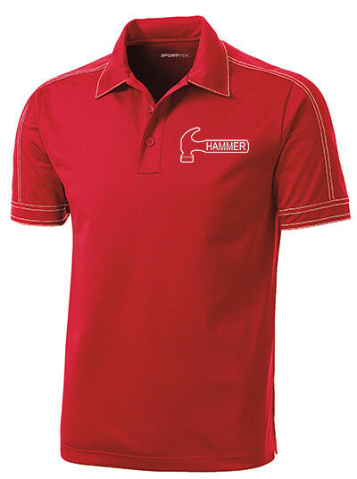 Hammer Men's Axe Performance Polo Bowling Shirt Dri-Fit Red
