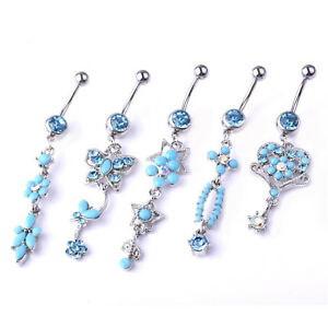 Details About 1 Pc Turquoise Butterfly Belly Rings 14g Titanium Barbell Navel Piercing Jewelry
