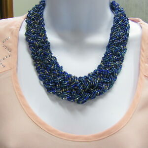 Vintage-Seed-Bead-Necklace-Multi-Strand-BOLD-Glass-Blue-STATEMENT