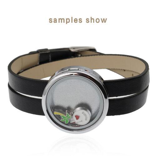 Assortiment Couleur PU Cuir Enveloppez Bracelet Flottant Charme Médaillon Bracelet 30 Mm Round