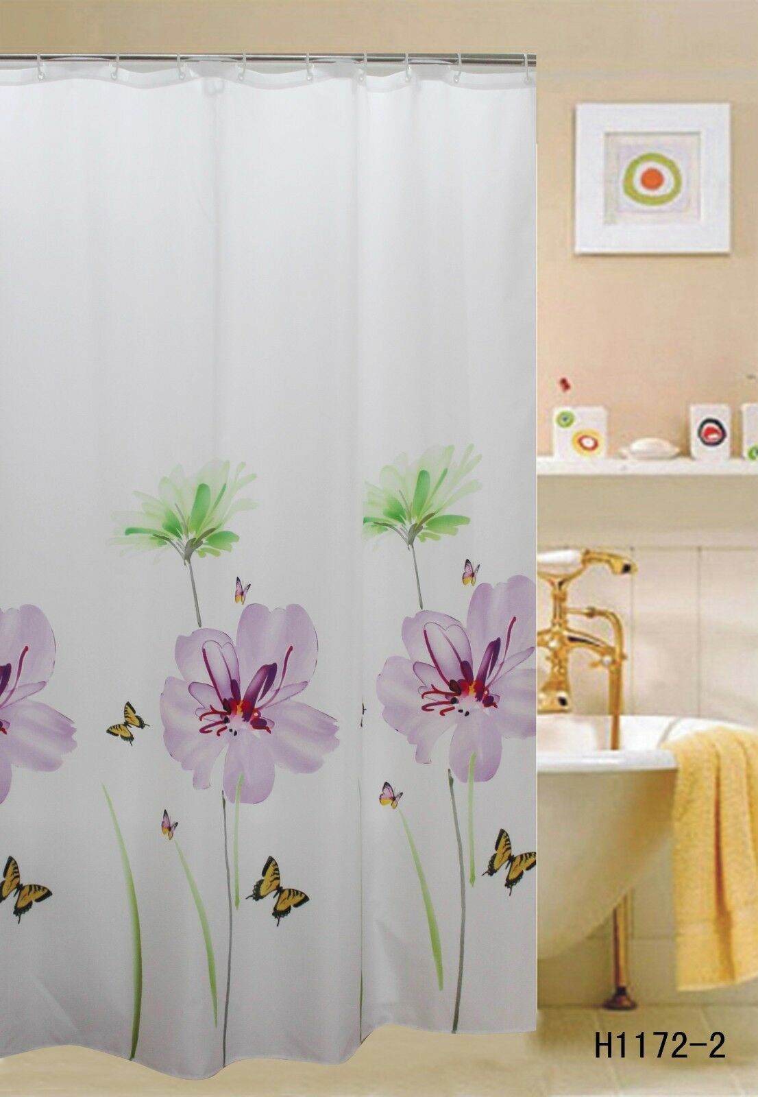 Fabric Shower Curtain 70 Quot X70 Quot Purple Lily Flowers