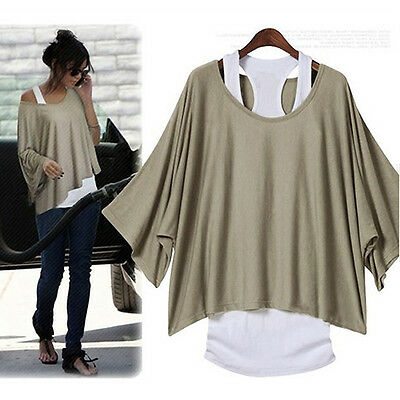 Fashion Women's Batwing Blouse Casual Loose Tops T-shirt +Tank Vest  Plus Size