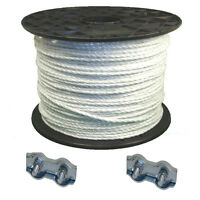 Electric Fencing 1 X 400 Meters White Rope + 2 Free Rope Conn Free P+p