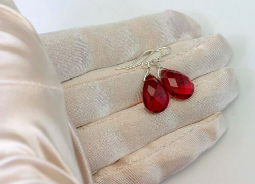 Red SIM Ruby Boucles d/'oreilles Facettes larmes lumineuses simples Gouttes Or 14k Sterling