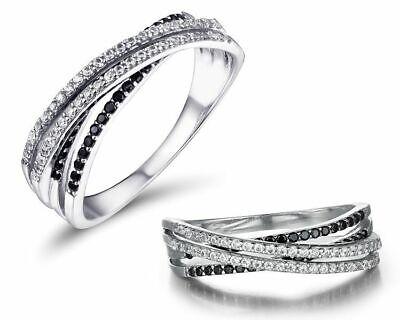 Sanft Damen Ring 925 Sterling Silber Schwarze Spinell 585 Weißgold Verg Pave Fassung