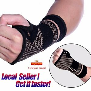 1e8fc2bb77 Image is loading Copper-Wrist-Sleeve-Palm-Hand-Support-Gym-Compression-