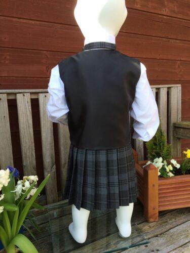 BabyTartan Kilt /& Bowtie With Black Waistcoat  Various Sizes /& Tartans Available
