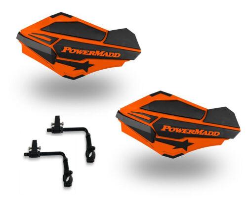 Powermadd Sentinel Handguards Guards Tri Mount Orange Black Utility ATV Polaris