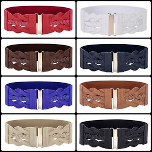 US Women/'s Fashion Plus Elastic Stretchy Retro Wide Waist Cinch Belt Waistband