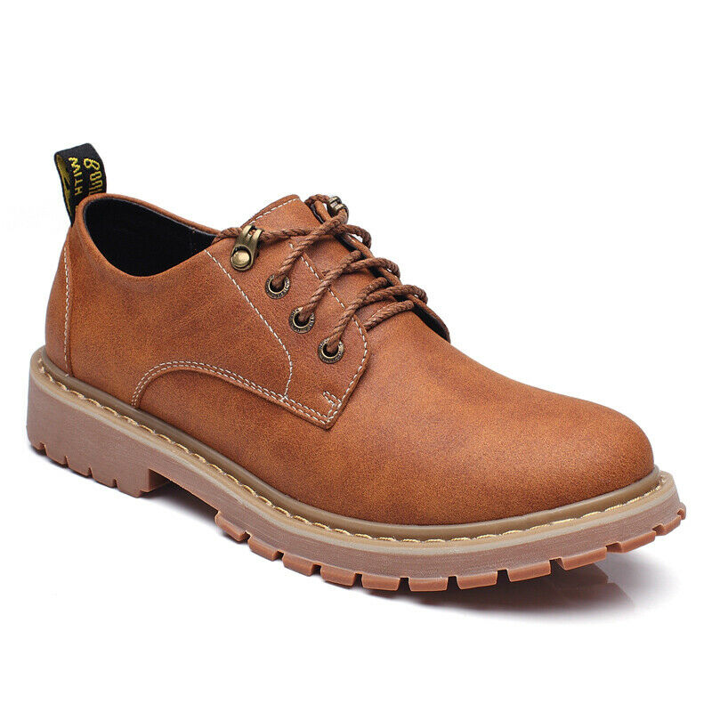 Men's Vintage Lace Up Oxfords Fashion Ankle Boots Casual Round Toe Low Top shoes