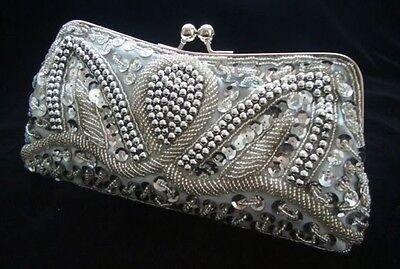 Silver Evening Handbag Beads Sequin Clutch Purse Party Bridal Prom Wedding Eid