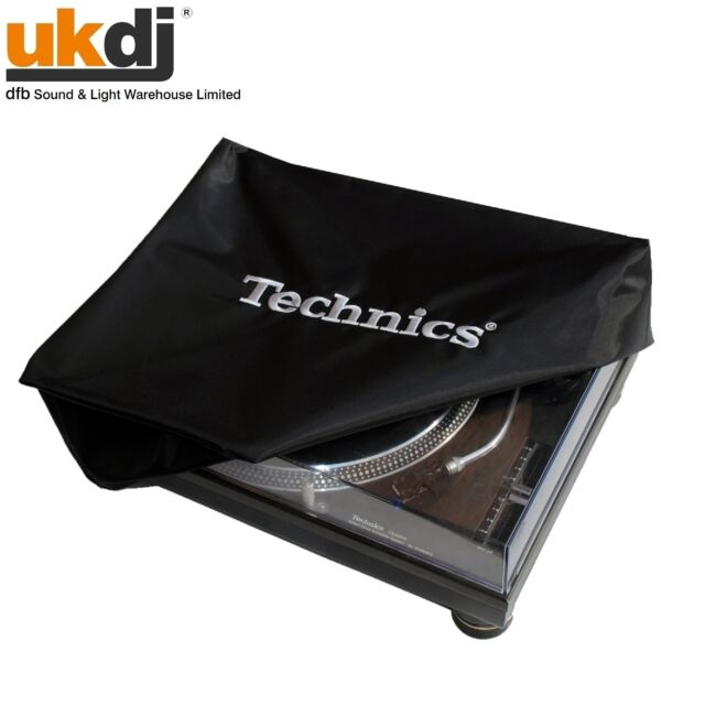 Turntable Cover Technics Logo Deck Logo Black and Embroidered Silver Dust Cover