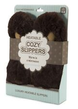 Intelex Cozy Microwavable Slippers Brown Heatable Luxury Furry Bed Feet Warmer