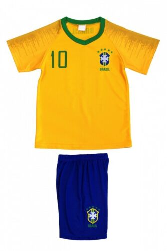 Brasil Kinder T-Shirt Set Kindertrikot Fußball Mannschaft Trikot Jersey Nr.10