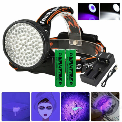 100LED UV 395nm Rechargeable White Headlamp Black light Night Camping Head Torch