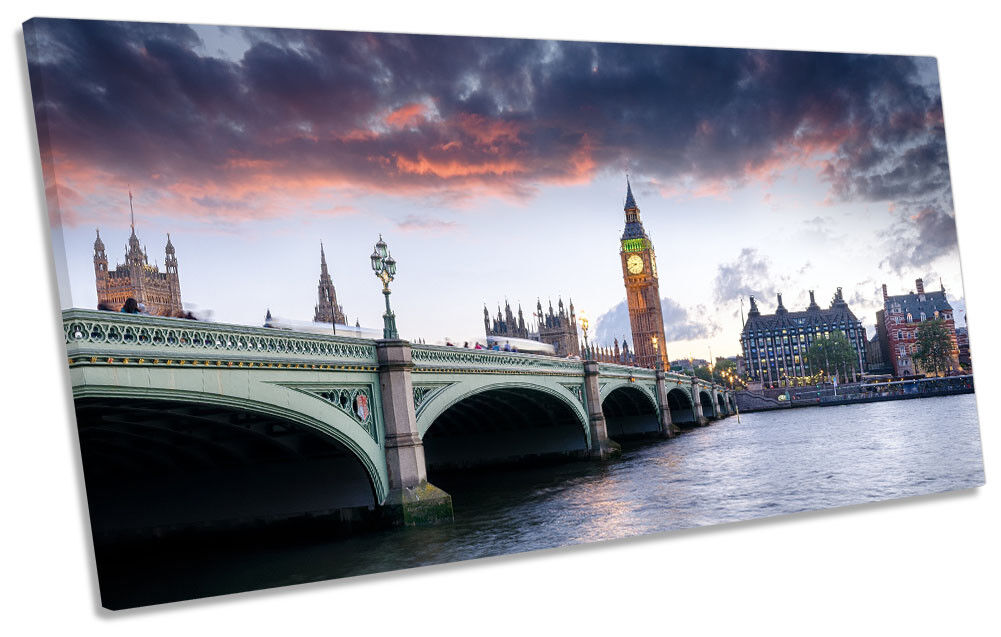 Big Ben London City Skyline Picture PANORAMIC CANVAS WALL ART Print