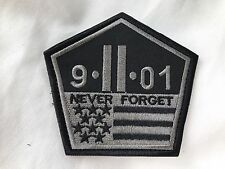 9-11 Sept 2001 Never Forget Twin Towers Pentagon Shape Flag Morale Patch SILVER