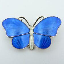 um 1900: Brosche Schmetterling 925er Silber blau emailliert sign. Hjortdahl