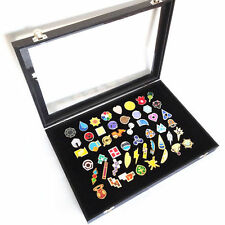 Poke Gym Badges with Glass Lid Display Showcase - Set of 50 Lapel Pin Badges