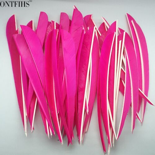 50PCS 5inch Pink Parabolic Vanes Fletches Feathers Fletching RW LW